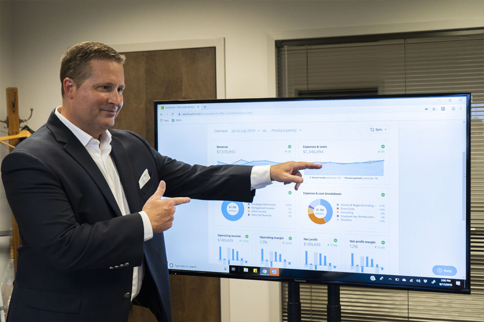 Jason pointing to statistics on a chart