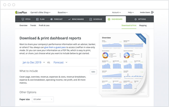 LivePlan Dashboard reports